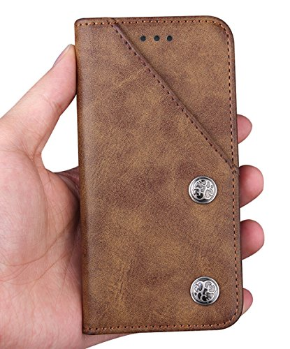 Nnopbeclik® [Coque Iphone 6S Plus silicone/Coque Iphone 6 Plus silicone] Portefeuille en Bonne Qualité PU Cuir Housse pour Iphone 6S Plus Coque /Iphone 6 Plus Coque (5.5 Pouce) Mode Style Flip Case In marron
