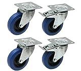Satz von vier - 100mm blauen Gummi Flight Case Rollen - schwere elastische Gummirollen 150kg