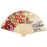 bamboe Frame mano Gema cartella Flower Pattern Fabric Folding Fan mano Beige