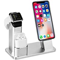TOFURT IPhone Airpods iWatch Stand Aluminium 4 in 1 AirPods support de charge iPhone Docks Holder pour AirPods/Apple Watch Series 2 et 1/Ipad/iPhone 8 7 7plus 6S 6plus - Argent