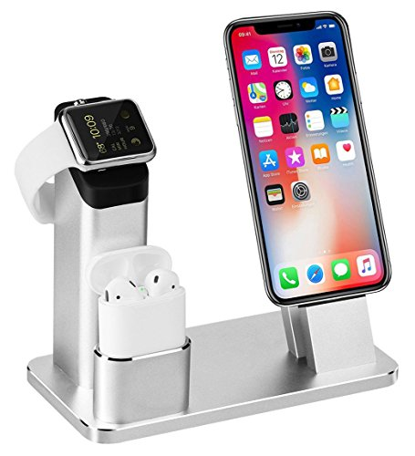 TOFURT IPhone Airpods iWatch Stand Aluminium 4 in 1 AirPods support de charge iPhone Docks Holder pour AirPods/Apple Watch Series 2 et 1/Ipad/iPhone 8 7 7plus 6S 6plus - Arg