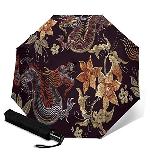 Ombrello automatico ricamato, motivo fiori asiatici, ombrello da viaggio vivido, ombrello da sole di piccole dimensioni, ombrello da pioggia portatile per proteggere gli occhi e resistente ai raggi ultravioletti, accessorio da viaggio per esterni