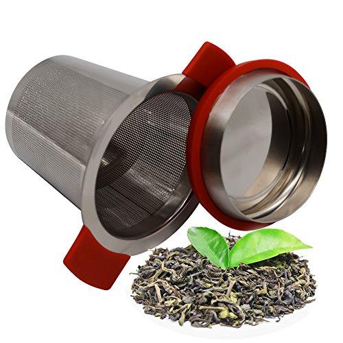 Edelstahl Brauen Topf (topeur Tee Filter Tee-Ei Edelstahl Teesieb Brauen Korb mit Rutschfeste Griffe für losen Tee, Tassen und Töpfe)