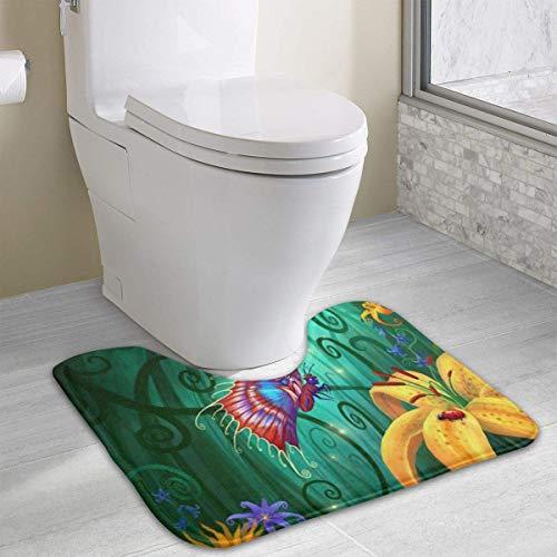 Hoklcvd Personalisierte Toilette Teppich-Schöne Schmetterling und Blumen WC U-förmige MatCartoon Soft Mat Dusche Boden Teppich Badezimmer -