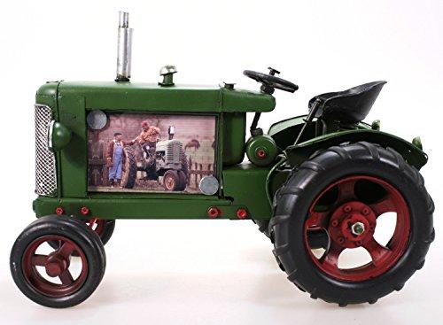 Metall Traktor als Bilderrahmen grün 24 cm Blech Modell Schlepper Trecker
