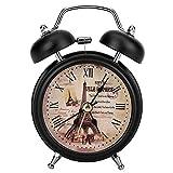 Garosa Alarm Clock Ultra-leise Klassisch Retro Tragbar Digital Metall Wecke für Student Schlafzimmer Haus(Schwarz)