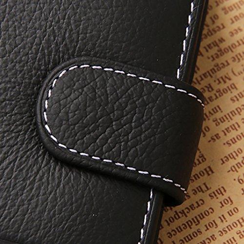 Rosa Schleife® Männer Geschenk Geldbörse Herren Leder Braun vintage Ausweis Geld Klammer Coffee Geldbeutel Bifold Brieftasche a - Schwarz