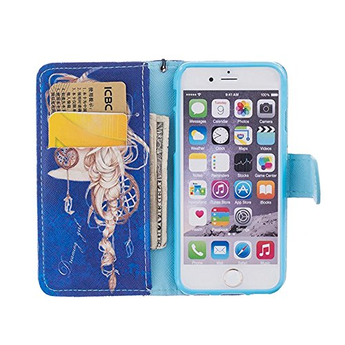 Vandot Cuir Coque pour Apple iPhone SE 5S PU Cuir Etui iPhone 5S Clapet Housse iPhone SE Portefeuille avec Support Carte Slots Fermeture Aimantée Couverture pour iPhone 5 5S SE Case Cover + Câble USB  Morpheus-Deep Blue