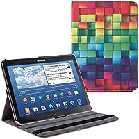 kwmobile Funda para Samsung Galaxy Tab 4 10.1 T530/T531/T535 - Case de 360 grados de cuero sintético para tablet - Smart Cover completo y plegable para tableta en multicolor verde azul