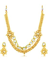 Sukkhi Classy 2 String Gold Plated Long Haram Necklace Set For Women