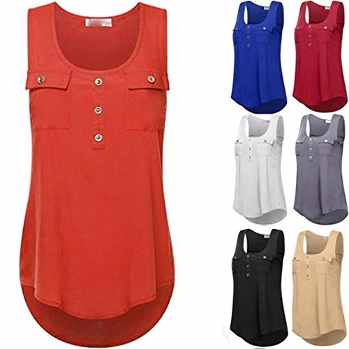 iHENGH Women's Casual T-Shirt O-Neck Sleeveless Vest Sexy Loose Tank Tops Plus Size