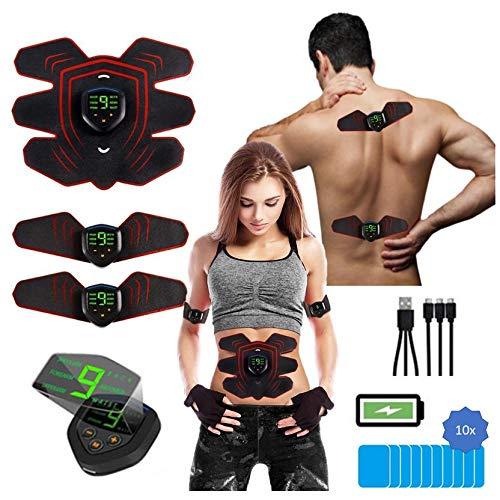 PowerBox Muskelstimulation elektrisch, 2-in-1 EMS Muskelstimulation + TENS Nervenstimulation für Brust-, Arm-, Rücken-, Bein und Bauchmuskulatur, USB wiederaufladbar, für Damen und Herren