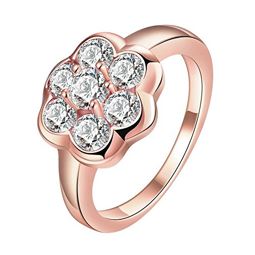 Kostüm Tintenfisch Rosa (Thumby Copper Rose Gold Plated 3.6g Classic Flower Ring for)