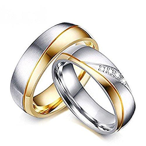 *6mm Edelstahl 18k Partnerringe Silber Kristall für Mann und Frau Trend 2017 Verlobungsringe Eheringe Partnerringe Unisex (Mann, 2,3 cm)*