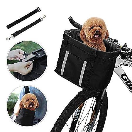 ANZOME Fahrradkorb, faltbar, für kleine Haustiere, Katzen, Hunde, Abnehmbarer Fahrrad-Lenkerkorb, Schnellentriegelung…