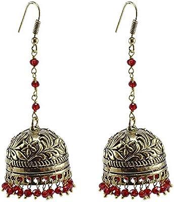 Pendientes de cristal rojo, templo joyería india plata jhumkas-large Jhumki gitana tribal joyería por silvesto India pg-27637