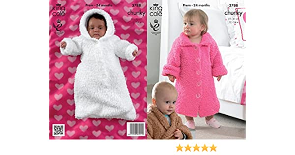 f0f624718724 King Cole Baby Cuddles Chunky Dressing Gown   Sleeping Bag Knitting ...
