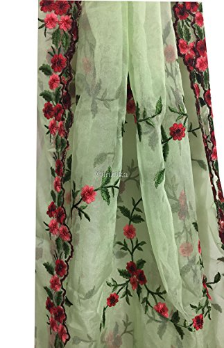 Kurti Material Blouse Fabric by meter Green Tissue organza border embroidery used...