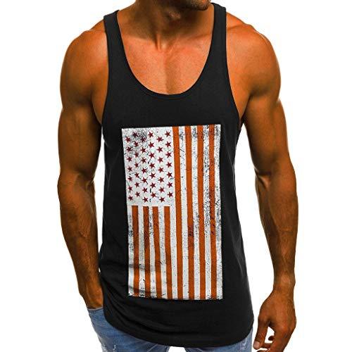 Ärmellos Muskelshirt Herren Tank Top Amerikanische Flagge Drucken Slim Fit Tankshirt Unterhemden Sportshirt Weste Trainingsweste Sommertop für Alltagskleidung Bodybuilding Fitness Gym M-3XL SSUDADY