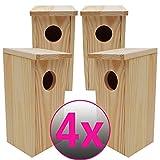 PROHEIM Nistkasten Compact 4er Pack 22 x 9 x 10 cm aus FSC Holz Nisthaus Perfekt für Meisen Kohlmeisen Kleiber Rotschwänzchen und Weitere Vogelarten Vogelnistkasten