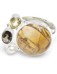 stargems (TM) Natural Brecciated Mookaite, citrino, perla de río y Cuarzo ahumado diseño único 925plata de ley anillo nosotros tamaño 7,75