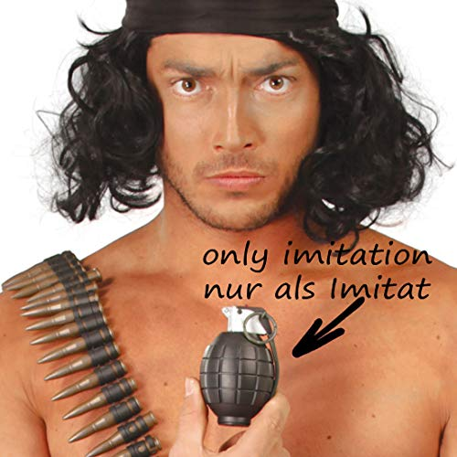 andgranate mit Sound | Grau | Originelles -Kostüm-Zubehör Fake Armee-Granate | Geeignet für Mottoparty & Karneval ()