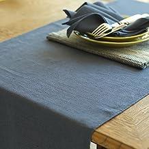 LinenMe 1-Pezzo 50 x 140 cm guida da tavola in lino Lara, blu francese