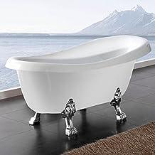 Freistehende Badewanne Nostalgie Wanne Design Standbadewanne 170 x 75 cm Weiß chrom