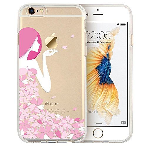 iPhone 7S Case / iPhone 8 Case, Walmark Soft Gel TPU Silicone Case Clear with Design Cute Cartoon Slim Fit Ultra Thin Protective Cover for 4.7 inches iPhone 7 /iPhone 8_Pink Floral Girl