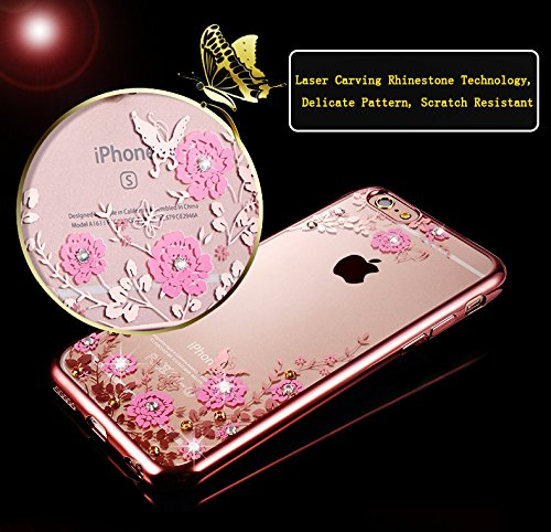 Custodia Resistenti per Apple iPhone 7Plus 5.5(NON iPhone 7 4.7), CLTPY Confine di Placcatura Disegni Vintage Caso Ultra Slim Sottile Morbida Soft TPU Silicone Intarsiato Brillantini Bling Diamante  Giallo Floreale