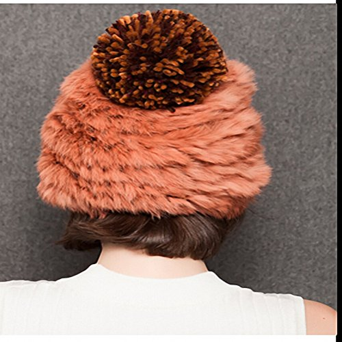 Maitose™ Hiver Rabbit Fur femmes Bonnet tricoté Orange