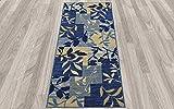 "2X5 , Floral Patchwork Navy : Diagona Designs Contemporary Floral Patchwork Design Non-Slip Runner Area Rug, 20"" W x 59"" L, Ivory / Beige / Navy"