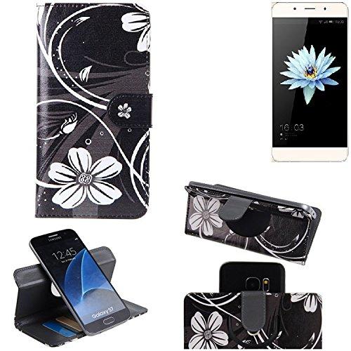 K-S-Trade Schutzhülle für Hisense C1 Hülle 360° Wallet Case Schutz Hülle ''Flowers'' Smartphone Flip Cover Flipstyle Tasche Handyhülle schwarz-weiß 1x