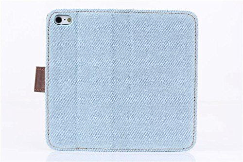 inShang Coque pour iPhone SE Cell Phone Housse de Protection Etui pour iPhone SE, SUPER PU Cuir case de premiere qualite Cowboy light blue