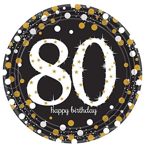 amscan 551965 8 Teller Sparkling Celebration 80, Schwarz, Gold, Weiß