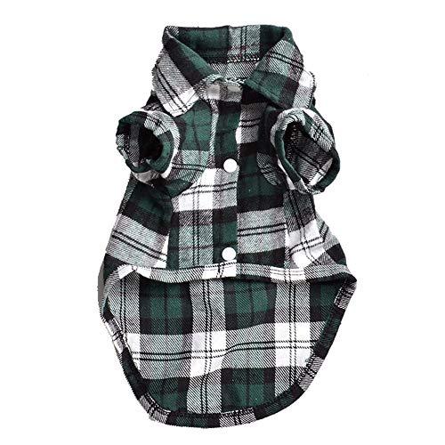 Vorhanden Kostüm Hunde 2 - Haustier-Kleidung Sommer-Haustier-Hundekleidung für kleines Haustier-Hundeplaid-Hemd-Revers-Mantel-Katzen-Jacke kleidet Haustier-Produkt,Grün,L