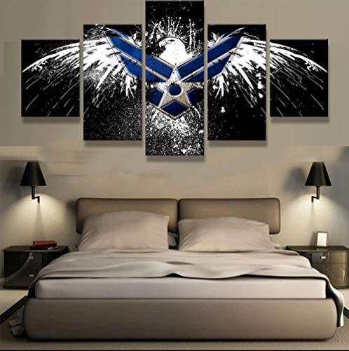 wfdmd 5 Panels Gedruckt AIR Force Eagle Leinwand Malerei auf leinwand wandkunst drucke 5 Stücke Poster Bild wohnkultur @ 40X60_40X80_40X100cm_with_Frame (Air Stadt Force 1)