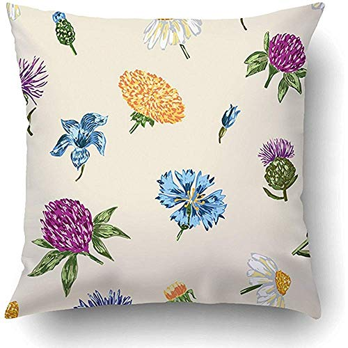 FPDecor Dekorativ Kissenbezug, Meadow Inflorescence of Wild Flowers Bell Blooming Blossom Botany Chamomiles 18 x 18 Inch Square with Hidden Zipper Polyester Home Sofa Cushion Decorative Pillowcase