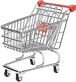 hibuy Mini Deko Supermarkt Einkaufswagen aus Metall, Gitterwagen Kinder Spielzeug, Geschenkidee, Wichtelgeschenk, 13cm Lang, Farbe: rot