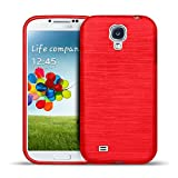 CoolGadget Samsung Galaxy S4 Mini Hülle, Ultra Thin Brushed Cover Schlank Weich Flexibel Anti-Kratzer Schutzhülle Abdeckung Case, Silikon Cover für Galaxy S4 Mini - Rot