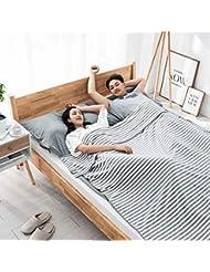 L-MEIQUN,Saco de Dormir de algodón de Viaje portátil de Viaje Desnudo(Color:Ganso Gris,Size:Doble)