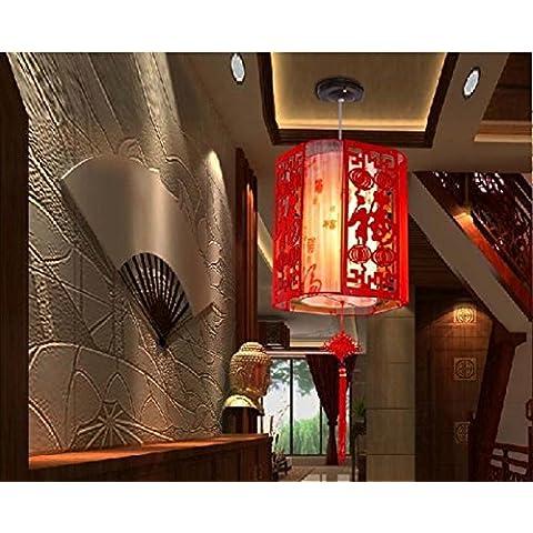 CHJK BRIHT Lanterna di nozze appendere piatti Cinesi e di legno scolpito arte teahouse spazzolato ristorante antica pergamena lampade