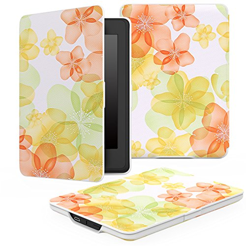 MoKo Etui Amazon Kindle Paperwhite - étui Flip en cuir super fin et léger pour Amazon All-New Kindle Paperwhite, NOIR Floral Vert