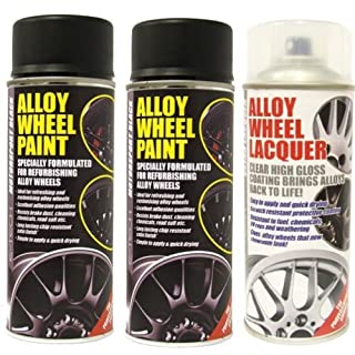 E-Tech 2 x Motorsport Black Alloy Wheel Paint and 1 x Lacquer Kit - Etech