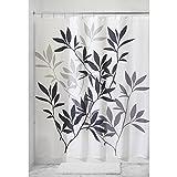 InterDesign Leaves Cortina de ducha | Cortina de baño de diseño de tamaño estándar, 183,0 cm x 183,0 cm | Elegantes cortinas estampadas con dibujo de