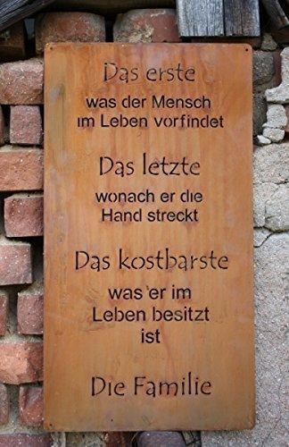 Rost Spruchtafel Familie, Edelrost Deko Metall Tafel zum hängen größe 1