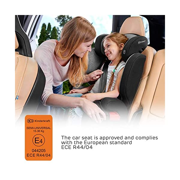 Kinderkraft Car Seat XPAND Child's Booster Seat with System ISOFIX Adjustable Headrest Side Protection Group II/III (15-36kg) to 12 Years Crashtested Safety Certificate Intertek and ECE R44/04 Gray kk KinderKraft Car Seat - The Xpand car seat ensures safety during every journey. Secure - Equipped with fixing system ISOFIX, which guarantees a stable and safe position for your child. Alternatively, secure with car seat belts. Comfort - The wide, deep seat provides comfort even during long hours of travel and the headrest adjustment allows parents to adjust the seat to each child. 7
