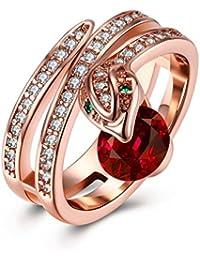 YAZILIND joyería 18 k rosa de oro plateado exquisita serpiente con anillo de zirconia cúbico redondo rojo para el partido de la boda
