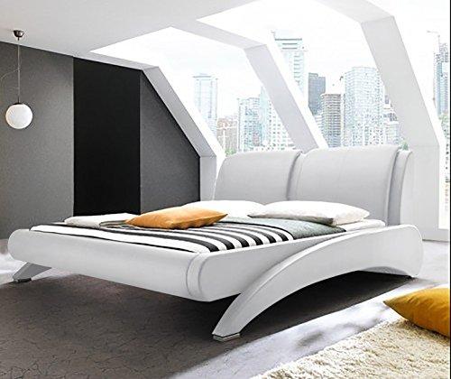 Doppelbett Polsterbett Bettgestell Bett Lattenrost Kunstleder (Weiß, 140x200cm) thumbnail