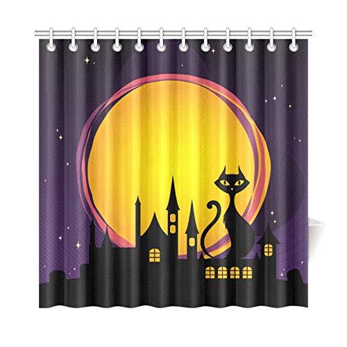 JSXMNA Home Decor Bad Vorhang Happy Halloween Nacht Mond Schwarze Katze Polyester Stoff Wasserdicht Duschvorhang Für Badezimmer, 72 X 72 Zoll Duschvorhänge Haken Enthalten